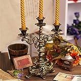 bestforme Candelabro Decorativo De Hierro Fundido Candelabro, 2 Brazos 3 Pilares De Luz Soporte De Vela, Decoración De Cena De Mesa De Navidad De Boda