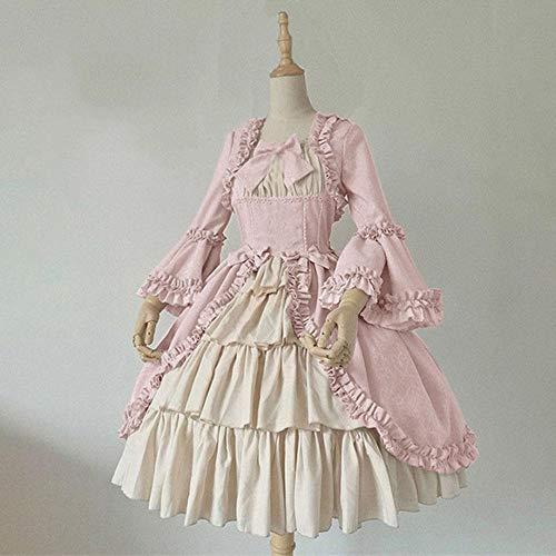 B/H Renacentista Disfraz Medieval para Mujer Vestido,Vestido Vintage Medieval, Vestido de Corte-Pink_M,Fiesta Navidad Carnaval Vestido Vintage