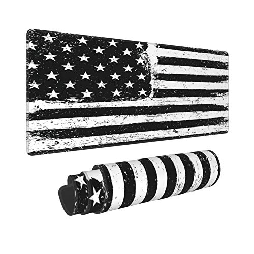 """Extended Gaming Mouse Pad Non-Slip Rubber Base,Black and White Monochrome Gamut Grunge Aged American Flag Background,Desk Mat with Stitched Edges for Office and Home Computer Laptop,35.5"""" x 15.8"""",XXL"""