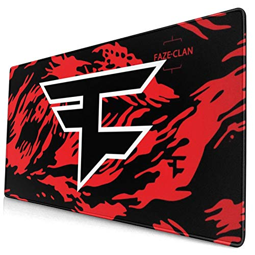Large Gaming Faze Clan Logo Mouse Pad Extended Mouse Mat Rubber Durable Stitched Edges Mousepad for Keyboard Laptops 15.8x29.5 in