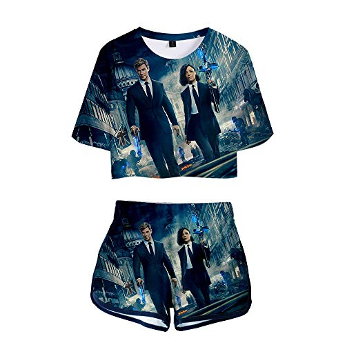 Man IN Black Pullover Persönlichkeit T-Shirt + Shorts Frauen Casual Short Tee Kurzarm Tops Printing Shorts Unisex (Color : A08, Size : S)