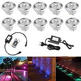 10pcs Luz LED Foco empotrable al Aire Libre 0.5W 45mm Ø IP67 Impermeable Iluminación para Exterior Jardín Patio Césped Paisaje con control remoto (Colores Cambiables)