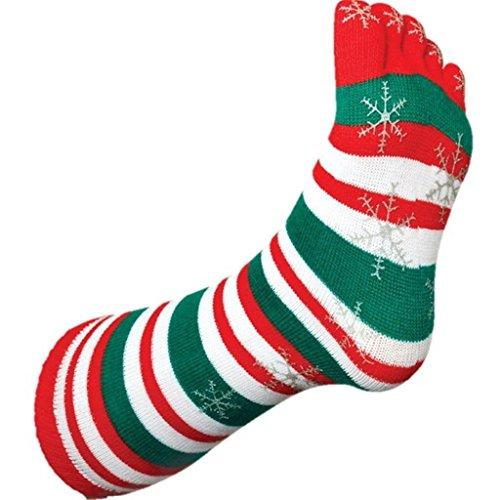 Tobar 13085 Christmas Stripey Toe Socks, Mixed