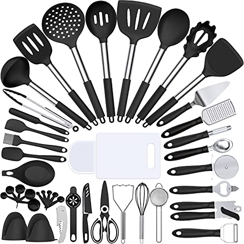 Silicone Cooking Kitchen Utensil Set, Umite Chef 43 PCS Heat Resistant Kitchen Utensils Gadget Set-Stainless Steel Handle- Kitchen Spatula Tools for Nonstick Cookware, Kitchen Accessories(Black)