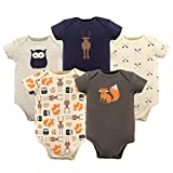 Hudson Baby Unisex Baby Cotton Bodysuits, Woodland Creatures 5 Pack, 6-9 Months (9M)