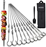 TOFTMAN Metal Kabab Skewers for Grilling, Stainless Steel Barbecue Skewers for Grilling Veggies, Shrimp, and Meat, BBQ Grill Accessories for Serious Grillers, Set of 10