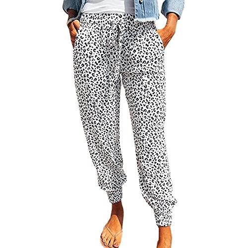 laamei Damen Hosen Sommer Freizeithose Lose Jogginghose Mode Leopard Muster Bequem Sporthose Atmungsaktiv Leicht Lange Strandhose Stoffhose mit Kordelzug und Taschen(L-weiß,XXL)