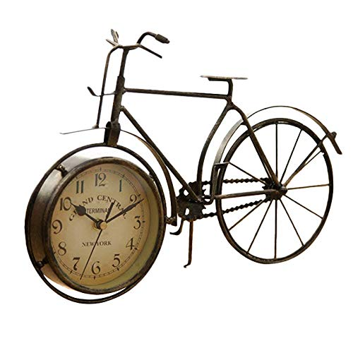 WOVELOT Vintage Iron Bicycle Type Table Clock Classic Non-Ticking Silent Retro Decorative Bike Clock for Living Room Study Room Cafe Bar Office Ornament Gifts Antique Copper-Colored