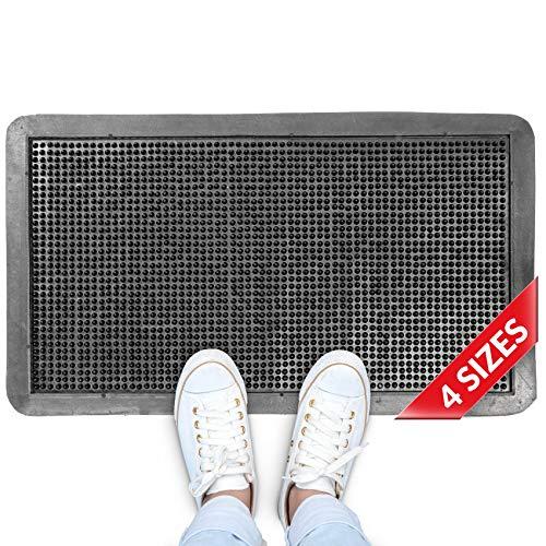 ANRO Gummimatte Fußmatte Gummiteppich mit Umrandung - Schmutzmatte - Abtropfmatte mit Gummifinger/Noppen 35x58cm
