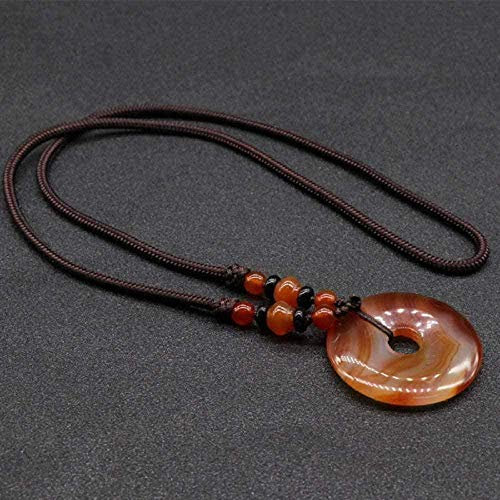 ZGYFJCH Co.,ltd Collar de Moda Collares Pendientes de Piedra para Mujer Piedra Natural Collares Pendientes de ágata roja Vintage con Adornos de Cadena de Cuerda