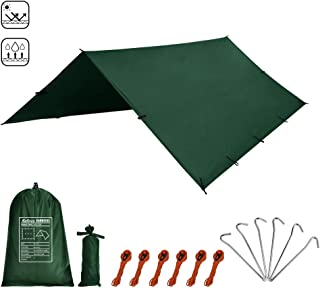 Kalinco Hammock Tarp Tent Camping Rain Fly 10X10FT/10X15FT Mutifunctional Tarp Footprint Durable Lightweight Quick-Drying Shelter Canopy