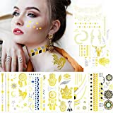 Metallic Temporary Tattoos Large Yoga Gold Face Tattoos for Women Girls Kids, 10...