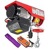 PARTSAM Polipasto eléctrico 200kg 440lbs, Cabestrante Electrico 230V, Altura de elevación max. 12m, Con Mando de Radio & Correa transportadora
