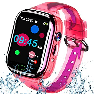 iGeeKid Kids Smart Watch Phone-IP67 Waterproof Smartwatch Boys Girls Toddler Digital Wrist Watch 1.44'' IPS Touch,Calls,Camera Gizmos Games,12/24 Hr Stopwatch Calculator Alarm Learning Toys (Pink) by iGeeKid