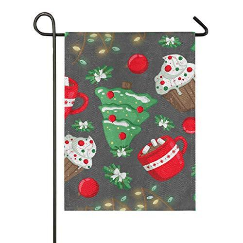 Drapeau de jardin Alge avec inscription « Merry Christmas Tree Cake » - Bannière verticale double face - Pour fête, vacances, cour, décoration de la maison, 30,5 x 45,7 cm, multicolore, 12x18 inches