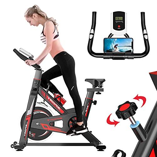 GJXJY Bicicletas Estaticas Spinning Profesional, Bicicleta Estatica con Volante Inercia 6KG Resistencia Ajustable Monitor LCD Fitness Bici Estática Indoor para Gimnasio y Casa Ejercicio Entrenamiento