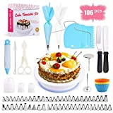 Cake Decorating Equipment, Omew 106pcs Cake Decorating Set Cupcake Decorating Kit Baking Supplies with Nonslip Turntable Stand, 54 Numbered Icing Tips and Frosting Tools for Cake DIY