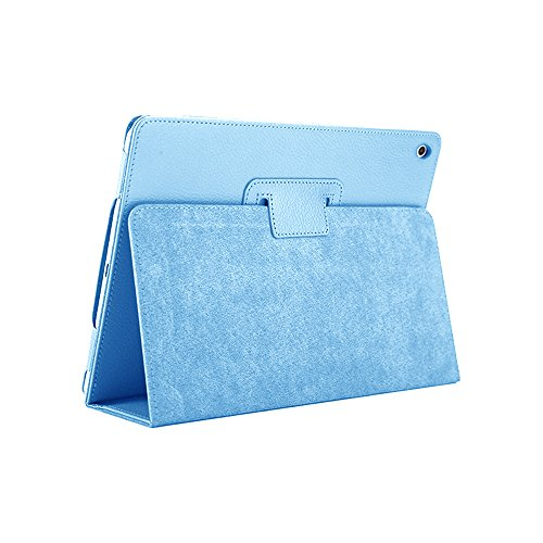 iPad Mini 1 2 3 Case, FANSONG Bi-fold Series Litchi Stria Ultra Thin Magnetic PU Leather Smart Protective Cover Case [Flip Stand,Sleep Function] for Apple iPad Mini 2/3 7.9-inch, Sky Blue