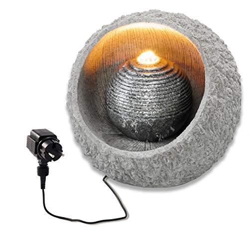 Beleuchteter Zimmerbrunnen RockStone mit LED - hochwertige Steinnachbildung aus Polyresin - 40 x 40 cm - IP44 Netzteil für Innen und Außen - Brunnen Luftbefeuchter Zierbrunnen, esotec 101401