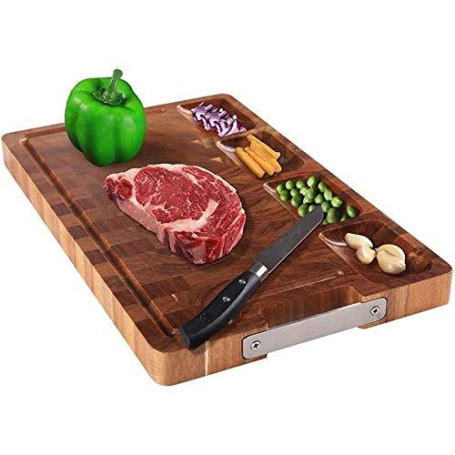 Tabla de cortar de madera de acacia for la cocina, tablero de charcuterie de queso con 4 compartimentos incorporados y ranuras de jugo 40x25x3cm (Color : Red)