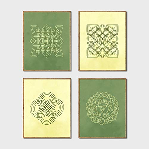 Scottish Medieval Europe Style Wall Art Celtic Knot Design Canvas Posters Prints Irish Green & Cream Painting Home Decor Pictures 30x40cmx4 Unframed