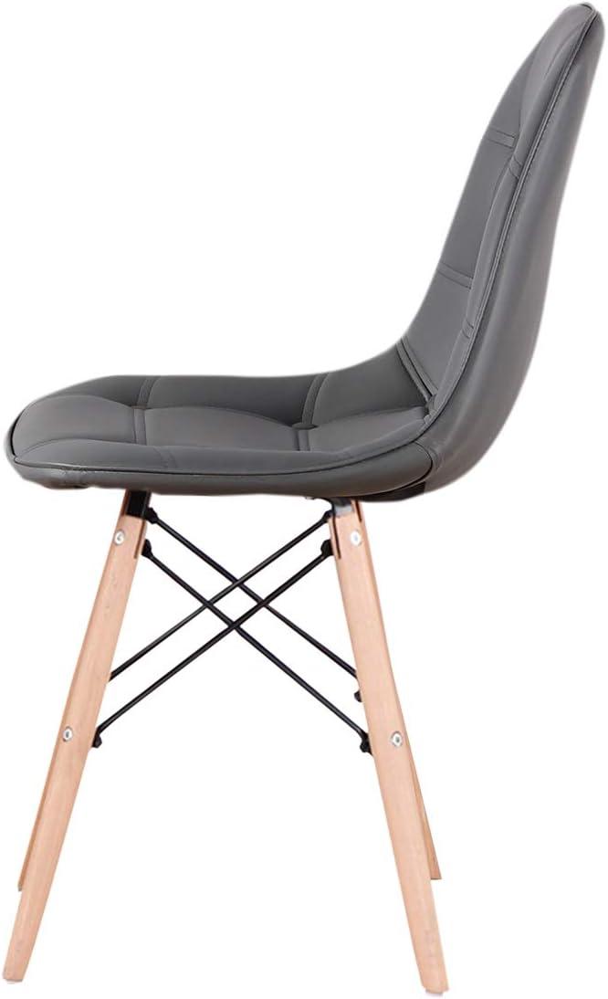 Lot de 4 chaises de salle à manger en cuir synthétique avec pieds en bois pour salle à manger, chambre à coucher, salon, chaises latérales Marron (blanc) Gris