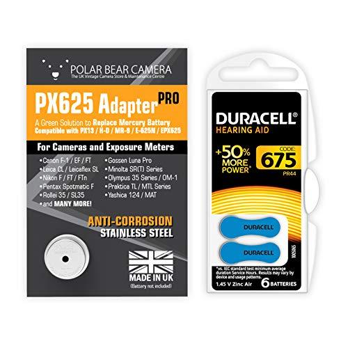 1,35 V PX-625 Kamera-Batterieadapter + 6 Batterien im Lieferumfang enthalten (Ersatz für Quecksilberzellen) passend für PX-13, MR-9, MRB-625, H-D, E-625N, EPX625