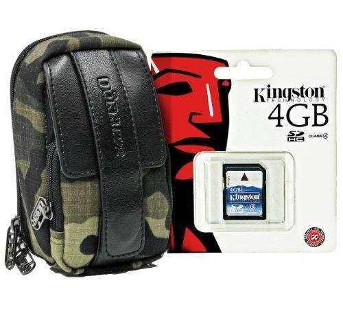 Foto Kamera Tasche Outdoor Camouflage Set mit 4GB SD Speicherkarte