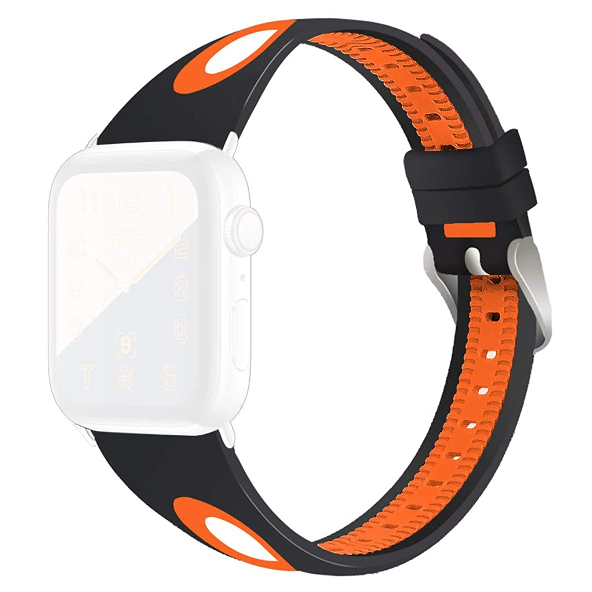 Nargar Bands Compatible for Apple Watch Series 4/3/2/1 42mm 44mm Silicone Sport Replacement Breathable Sport Bands Durable Lightweight Multicolor Fitness Classic Straps Bracelet (Orange)