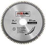 Lame TCT pour scie circulaire à bois Saxton TCT 19080T 190 x 30 mm avec 80 dents compatible avec Bosch, Makita et Dewalt
