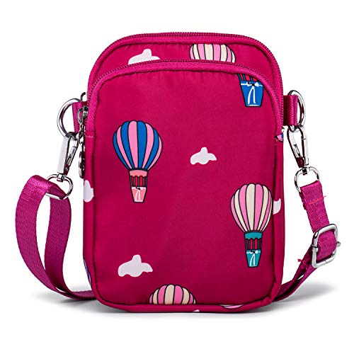 Nylon Mini Cross Body Bag Travel Passport Mobile Phone Purse Bag Belt Pouch Bag with 3 Zip Pockets (Rose)