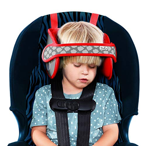 NapUp Child Head Support for Car Seats – Safe, Comfortable Support Solution (Light Red)