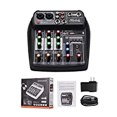 Compact size 4-channel mixer with a sound card, is suitable for home music recording, webcast, karaoke, network singing, etc. DC 5V micro USB power supply, can be powered by power adapter, power bank or computer, super convenient to use. With 2 MIC/L...
