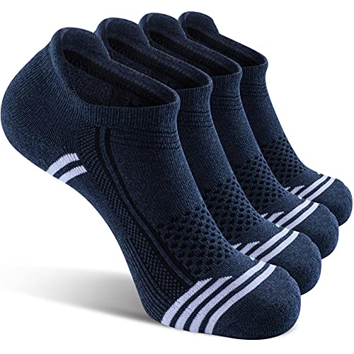 icuub Women's Ankle Low Cut Padded Running Athletic Socks, 4 Pairs Ladies No Show Golf Walking Skateboard Blister Resist Plantar Fasciitis Arch Support Cotton Short Sport Socks, Women Size 7-10 Blue