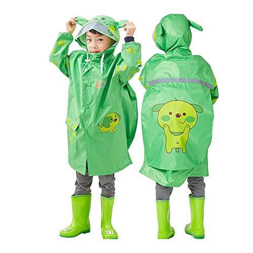 Imperméable pour enfants Guyuan Imperméable pour garçon Maternelle Grand Chapeau Élève Enfant Sac de Fille pour Fille Poncho (Color : Green, Size : L)