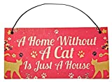 A Home Without A Cat is Just A House, Hanging Funny Wall Signs, Cat Lady Pet Lover, Vintage Farmhouse Home Decor, Wooden Wall Art Kitten Sign, Cute Decorative Plaque