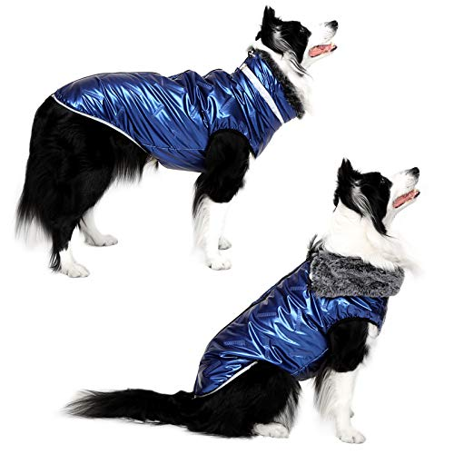Dog Jacket - Cozy Snow-Proof Wind-Proof Winter Dog Coat with Adjustable Furry Collar, Pet Vest Reflective Dog Jackets for Small Medium Large Dogs, Sturdy Leash D Ring for Walking, Hiking(BL4XL)