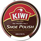 [靴磨き] 単色販売 KIWI (kiwi) キィウイ 靴墨 シューポリッシュ 油性靴クリーム[45ml][黒・茶・無色] キューイ 靴クリーム (ブラウン)