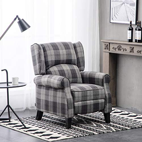 Warmiehomy Wing Back Recliner Chair Fabric Tartan Lounge Armchair Sofa Reclining Chair with Solid Wood Legs for Living Room Bedroom (Tartan Grey)