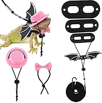 3 Pack Bearded Dragon Lizard Leash Harness S,M,L  Adjustable Leash Bat Wings Costume Accessories with Hat & Bow Tie Collar for Lizard Reptile Gecko Iguanas Amphibians & Small Animals  Pink