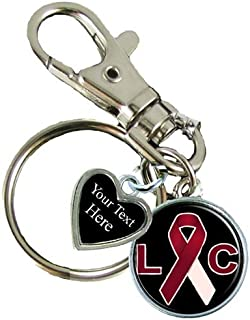 Holly Road Laryngeal Cancer Awareness Ribbon Silver Key Chain Choose Your Text