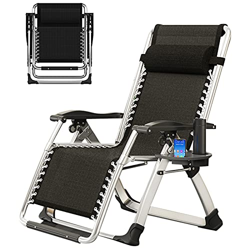 SLSY Lounge Chair Zero Gravity Chair for Indoor and Outdoor with Cup Holder, Ergonomic Patio Recliner, Fold Lounge Chair for Kids and Adult (Black)