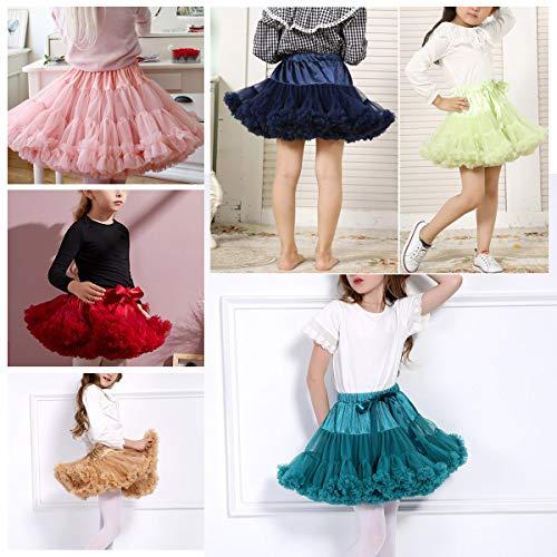 Happy Cherry - Falda de Princesa de Tutú para Bebé Nina Vestido Corto de Tul para Danza Fiestas de Cosplay Boda Ropa de Volantes para Disfraz Boda para Niñas de 5-7 Años - Rosa