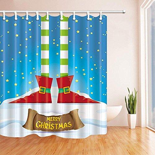 不适用 Winter Festival Decor Cartoon Elf's Legs on Snowy North Pole with Poinsettias Mildew Resistant Shower Curtains for Bathroom