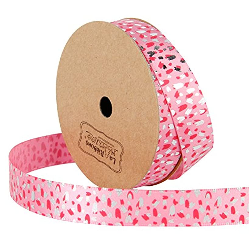 LaRibbons 5/8 inch Wide Printed Satin Ribbon - Blush Pink Ribbon with Fuchsia and Silver Foil Dots Printd - 10 Yard for Wedding Party Birthday Bridal Decoration