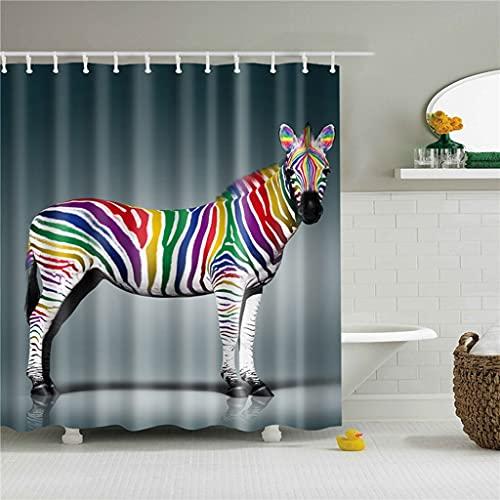MKIJYD DuschvorhangSchöne Tiere Katze H&e Giraffe Kaninchen Duschvorhänge Frabic Wasserdicht Polyester Duschvorhänge Badvorhang mit Haken