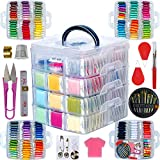 268 Embroidery Floss set including Cross Stitch Threads Friendship Bracelet String with4-Tier Transparent Box, Floss Bobbins and Cross Stitch Kits