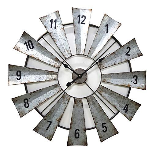 24'Reloj De Pared De Molino De Viento De Metal Hecho A Mano, Reloj Decorativo De Estilo Antiguo del País Primitivo,Plata