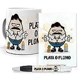 mundohuevo Pack Original y Personalizado, Series, Personajes Famosos. Pablo Escobar. Narcos. Libreta, boligrafo y Taza Maxima Calidad.