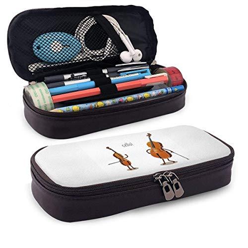 Violoncelle! Étui à crayons en cuir Sac à cosmétiques de voyage portable pour étudiants garçons fille adultes